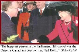 Picture of Neil Kelly, Queen's creative speech writer, shaking hands with the prime minister in the back.